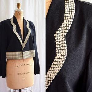 Vintage 1980s Black Blazer with Gold Houndstooth